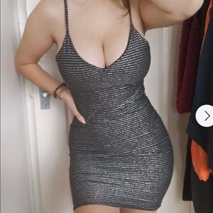 Boohoo black, metallic striped, bodycon dress, NWT